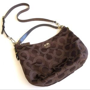 COACH • Madison Dotted Op Art Brown hobo bag